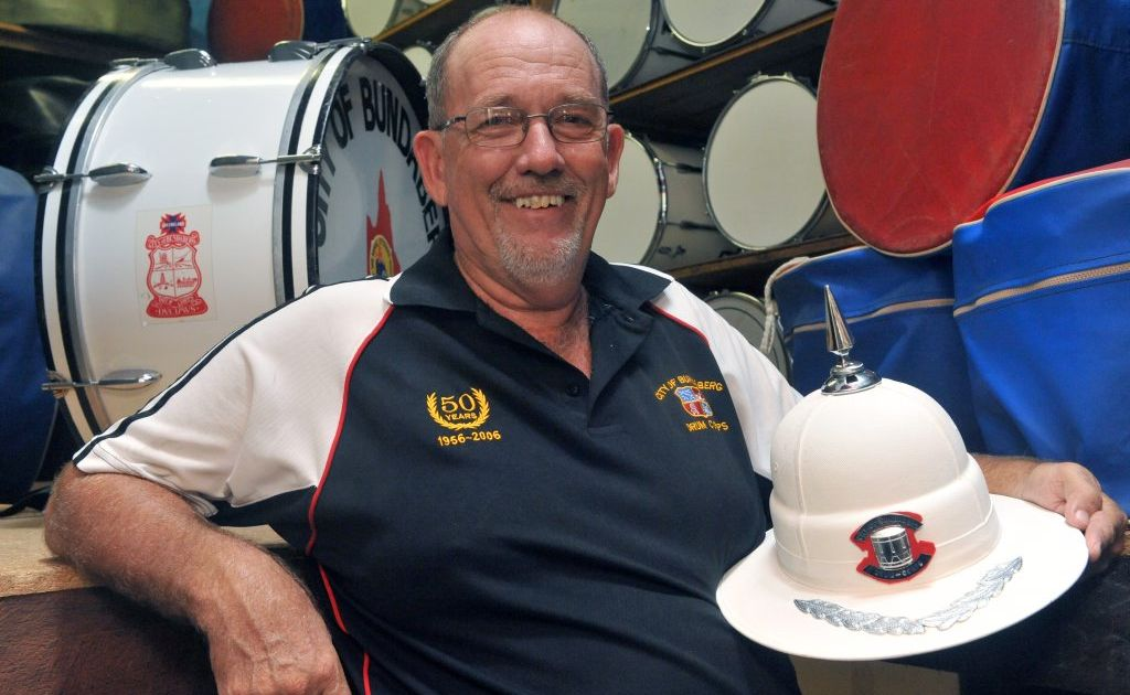 BANGING THE DRUM: City of Bundaberg Drum Corps band master Trevor Ballantyne is stoked about the Anzac Day reuinion march.