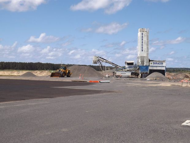 Work is almost finished on the apron extension at the Ballina Byron Gateway Airport. Photo Rebecca Lollback / The Northern Star