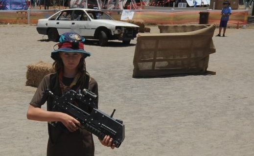 Scout Lara Westwood prepares for the laser tag world record attempt at the 2013 Scout Jamboree.
