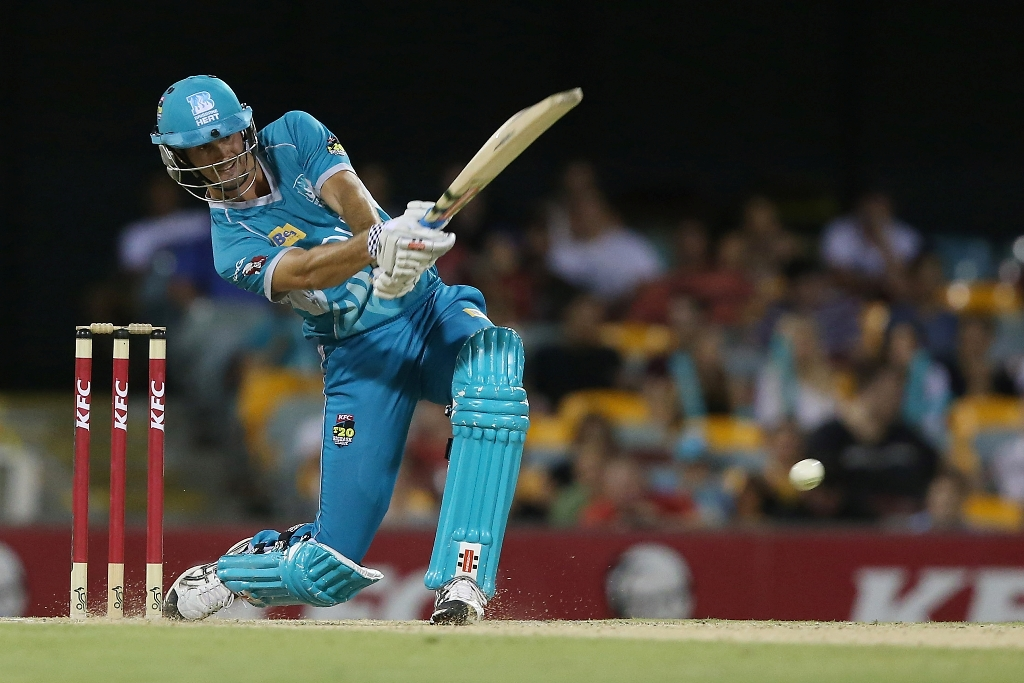 Ben Cutting of the Heat bats during the Big Bash League match between the Brisbane Heat and the Sydney Sixers at The Gabba on January 7, 2013 in Brisbane, Australia.