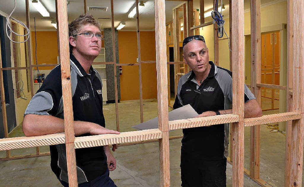 Carpenter Luke Callan and Vandalay Constructions director David Egan are two of many tradesmen who have supplied their services free of charge.