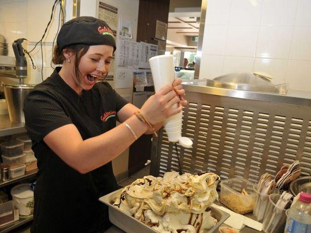 Keeping cool by making gelato is Kaitlin Lees of Gelatissimo.