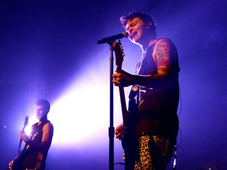 Guitarist Marcus Catanzaro and Reece Mastin during a sound check at the MECC. Summer Nights Tour.