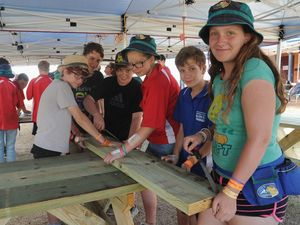 Picnic tables made largely by scouts to be left behind