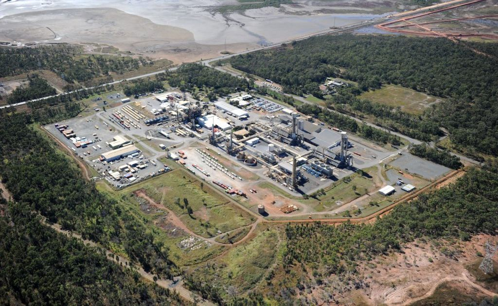 An aerial view of the Orica plant at Yarwun, west of Gladstone.