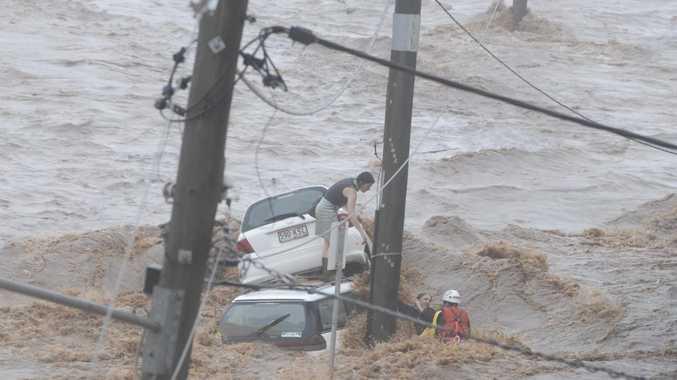 Flood water tears through Toowoomba.