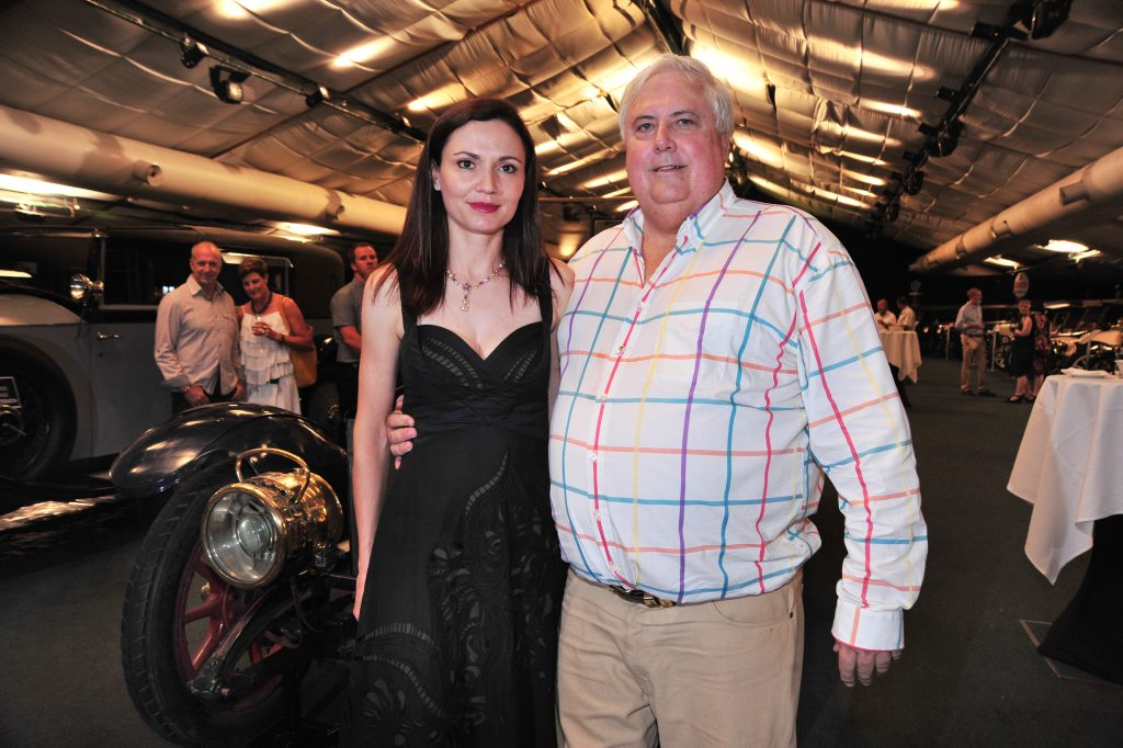 Clive Palmer with wife Anna in front of a 1911 Rolls Royce Silver Ghost at a cocktail party to celebrate the opening of Palmer Motorama in The Pavilion at Palmer Coolum Resort. Photo: Iain Curry / Sunshine Coast Daily