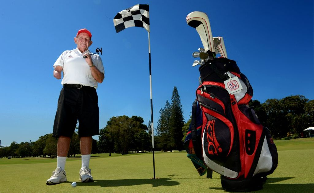 Amputee Graham Cox at Tweed Heads Golf Club. Photo: John Gass / Daily News