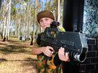 Simeon Lockett, 12, having a blast playing laser skirmish at the Tondoon Botanic Garden.