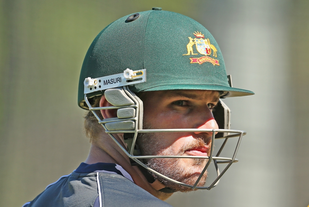 Aaron Finch of Australia looks on during an Australian cricket team training session at the Melbourne Cricket Ground on January 10, 2013 in Melbourne, Australia.