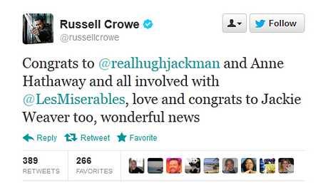 Russell Crowe tweets Hugh Jackman.