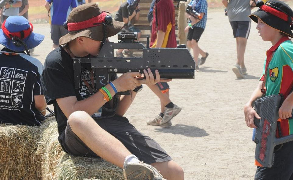 Hundreds of scouts attempt to set a world record playing laser tag at the jamboree.