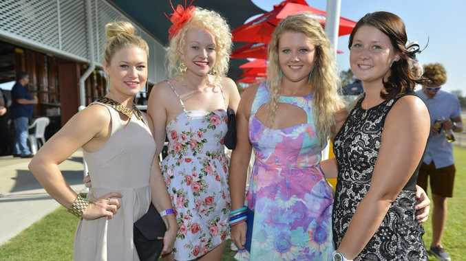 (L-R) Alana Cooke, Hannah Jefferies, Hayley Beaumont and Nikola Ballinger at the Magic Millions Day races at Ferguson Park.