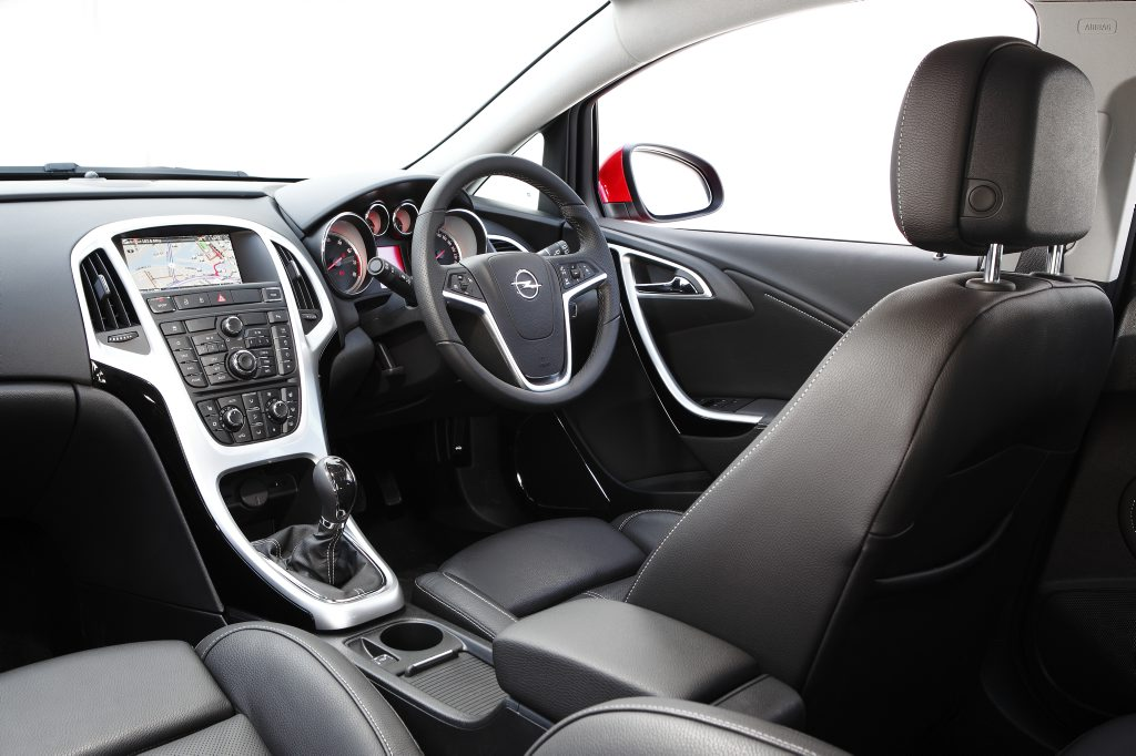 Inside the Opel Astra Turbo.