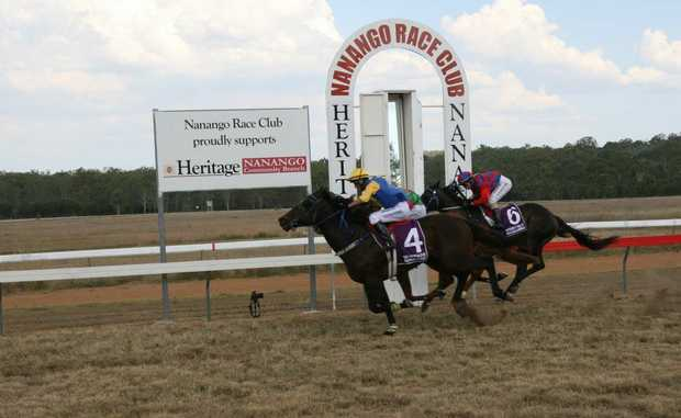 GREAT FINISH: Nanango horse Blackgold wins the Nanango Gas Suppliers Handicap during Saturday's Nanango Races.