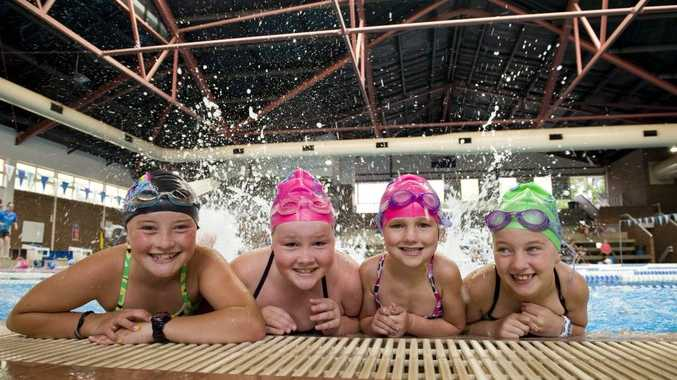 (From left) Holly Wilke,11, Sophie Daniells, 9, Olivia Oeser, 5 and Mikayla Oeser, 9, Glennie Acquatic Centre learn to swim lessons.