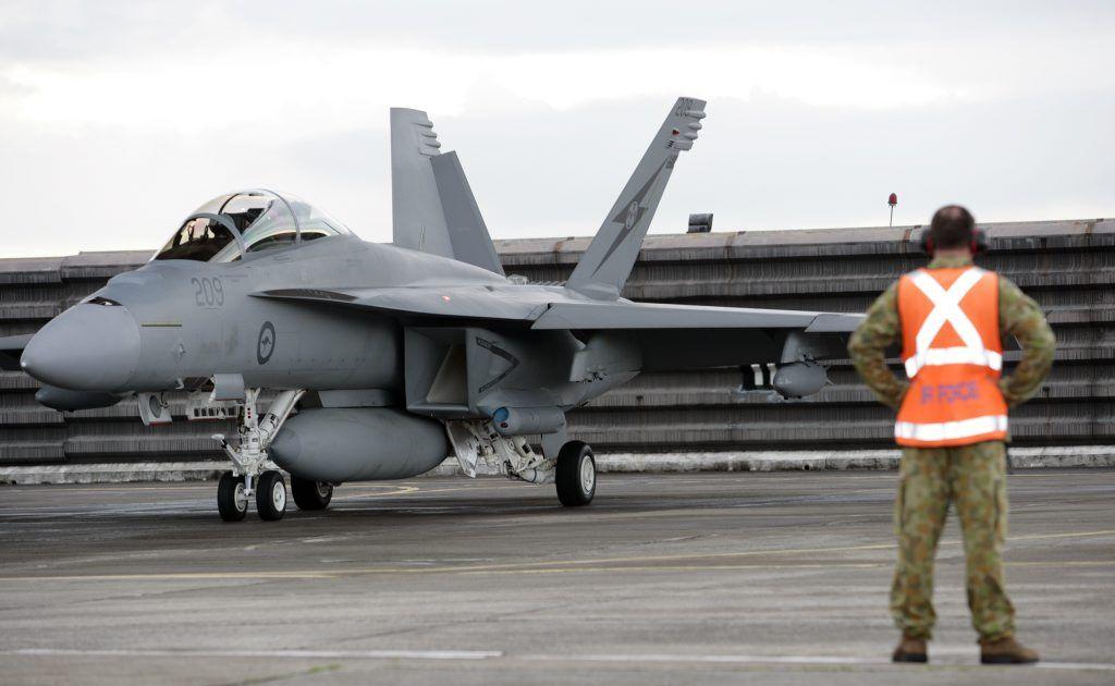 An F/A-18F Super Hornet.