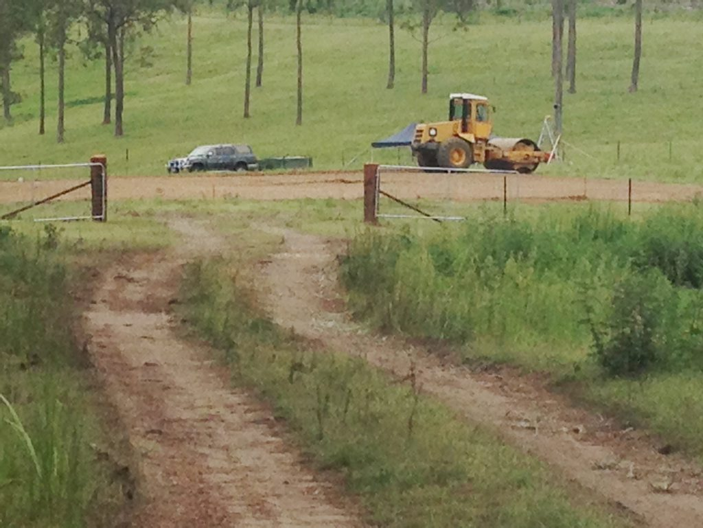 Metgasco's new drilling pad under construction today near Doubtful Creek Photo Cathy Adams / The Northern Star