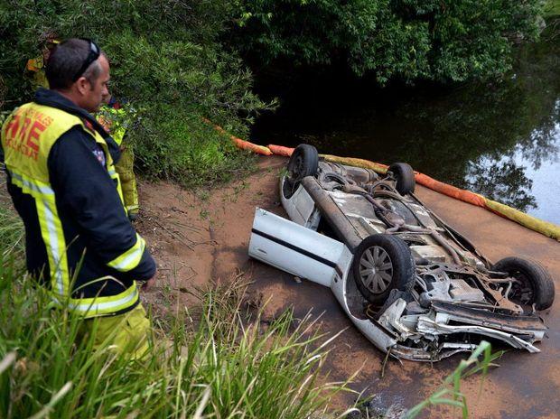 Car into the Tweed river past Murwillumbah Photo: John Gass / Daily News