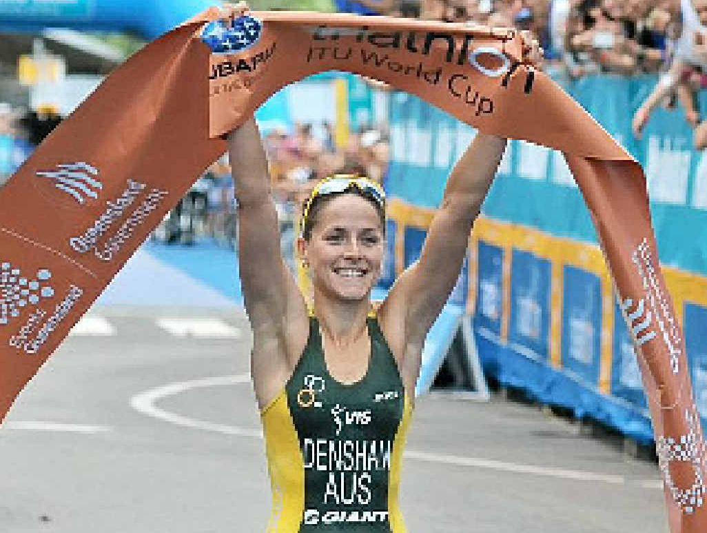 Erin Densham wins the Mooloolaba Tri.