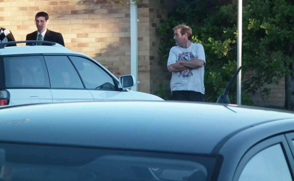 Constandinos Dacolias outside the Hervey Bay courthouse at an earlier court appearance.