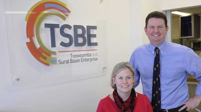 Consultant Jo Sheppard and Toowoomba and Surat Basin Enterprise CEO Shane Charles.