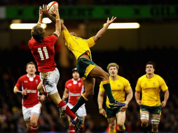 Kurtley Beale of Australia rises for the ball with Liam Williams of Wales during the International match between Wales and Australia at Millennium Stadium on December 1, 2012 in Cardiff, Wales.