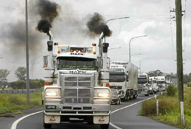 GET READY: Last year's Lights on the Hill annual convoy heads into Gatton to commemorate the many lives lost in the trucking industry.