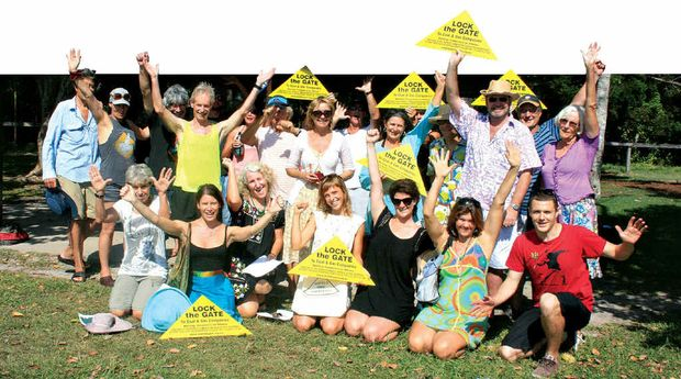 OPENING MOVES: Members of the CSG-Free Byron Bay group gather at Broken Head to gauge public feeling about mining.