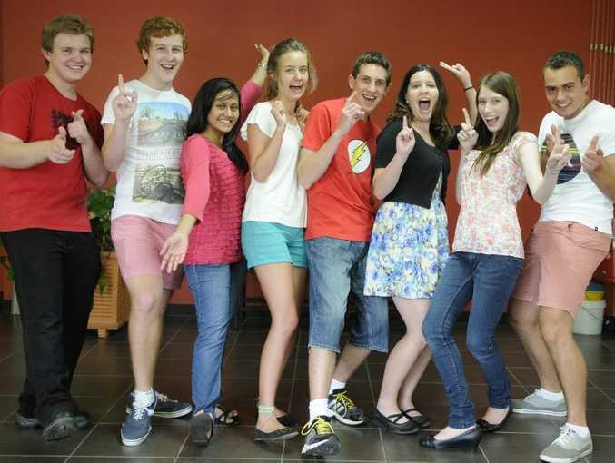 OP 1 students from from Centenary Heights ( from left): Lachlan Webb, Adam Little, Maisha Rahman, Grace Myatt, Alex Hilton, Marissa Andersen, Bernie King and William Searchfield.