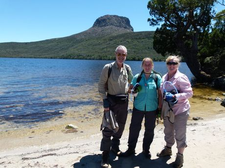 John, Natalie and Lisa Minz on their recent Tasmanian holiday which coincided with bushfires.