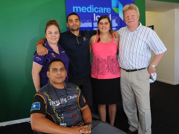 DEADLY CHOICES: The healthy lifestyle team tackling chronic disease Luke Watson, Kylie McCartney, Loyde Johnson, Jennilee Brown and Shane Dawson will be involved in the Cultural Healing Event today. Photo: Mike Knott / NewsMail