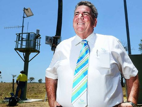 ALL GOOD: Mayor Graeme Lehmann inspects the newly-installed flood early warning siren at Fernvale.