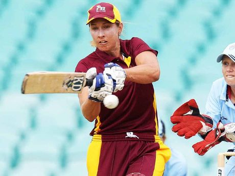THWARTED AGAIN: Mel Bulow hits out against NSW in the Women's National Cricket League final on Sunday.
