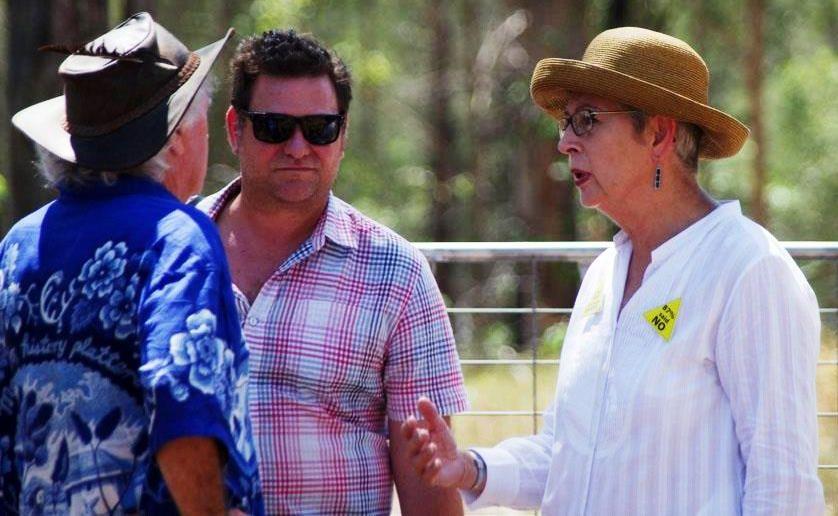 Byron Shire mayor Simon Richardson and Lismore City mayor Jenny Dowell talk to protesters at the Glenugie CSG blockade. Photo Frank Falkenstein.