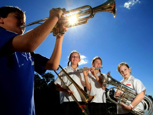 At last year's launch of the Tyalgum Festival of Classical Music: Charlotte Ryder, Jordan Howlett and Therese Daley with Jon Ryder on the Trumpet