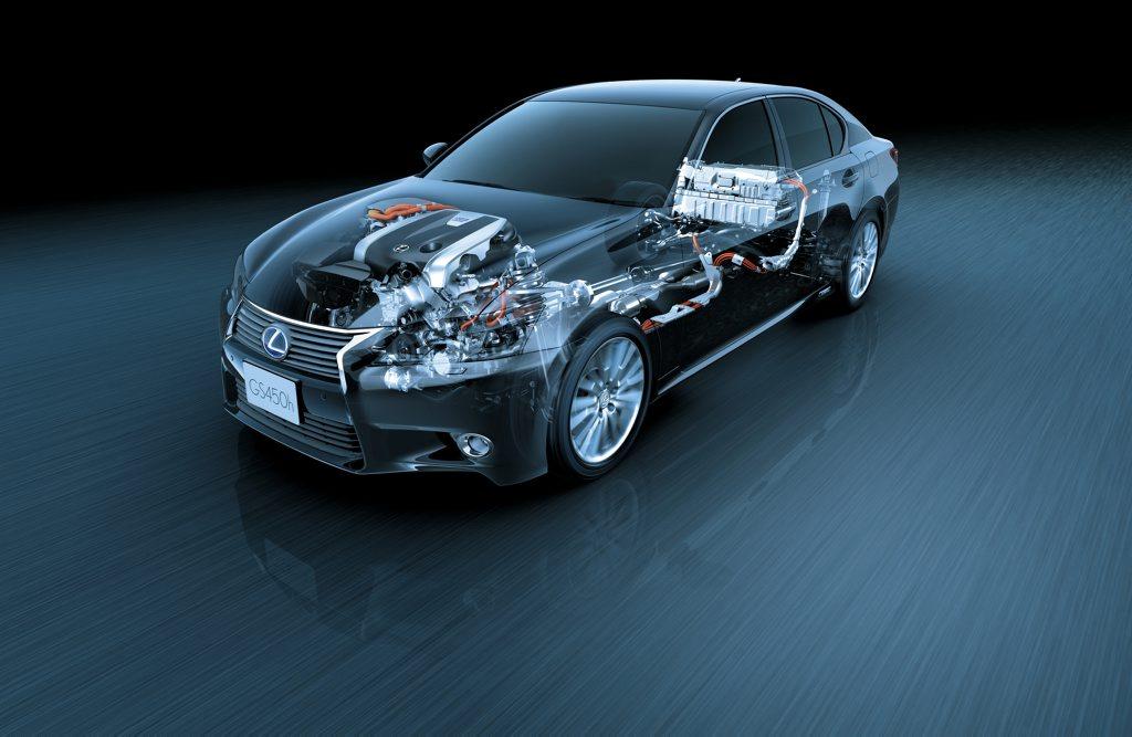 The Lexus GS 450h hybrid drive train.