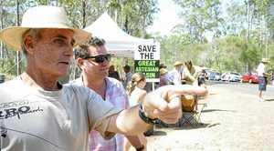 Protestors show Byron Shire mayor Simon Richardson around the Metgasco CSG site.