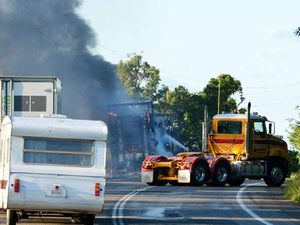 Car carrier on fire on Bruce Hwy