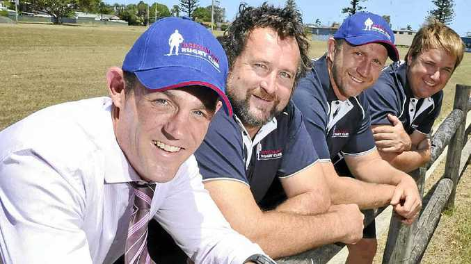 """NEW BLOOD: Bangalow will be one of three new teams in Far North Coast first-grade rugby union this year with a """"brains trust"""" including, from left, coach Andrew Fraser, player Neil Moran, coach Will Cotterill and club president Dan Hill."""