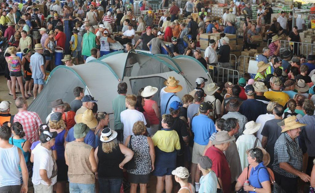 Hundreds of people packed the horse ring at the Maryborough showgrounds for the clearance sale in the wake of the scout jamboree.