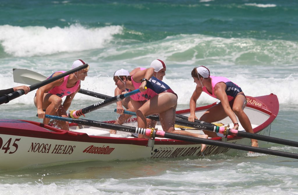 Noosa Heads under-19 crew in action in their heats.