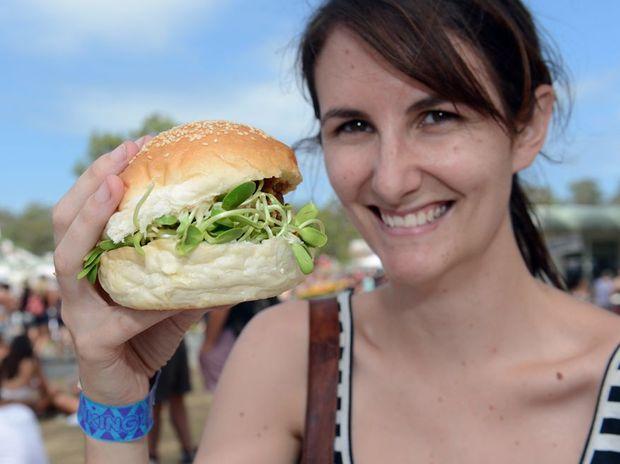 Kayla Mayall enjoys a mushroom burger from Top Shop.