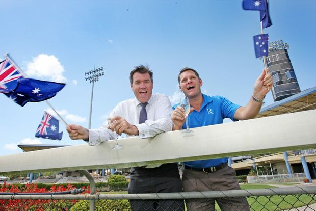 Corbould Park Race Course is holding a Sunshine Coast Cup Race Day this Australia Day supported by the Caloundra Chamber of Commerce. CCC President Michael Shadforth with Tourism and Events Chairman Bill Derby of Rumba Resort. Photo: Kari Bourne / Sunshine Coast Daily