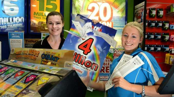 Sheraden Robins and Bec Mongan at Sunnyside newsagents. Big Lotto winning store.