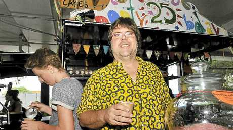 REFRESHING: Ron Kleindiek, Ron the Coffee Man, as he is known at the market, celebrating 25 years of the Lismore Car Boot Market.