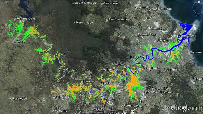 Law firm Maurice Blackburn says the areas in green should not have flooded at all. Orange denotes areas where flooding was 15cm.