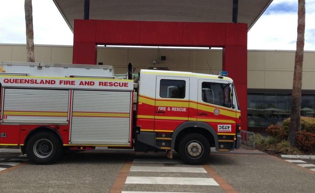A fire appliance outside Kawana Shoppingworld.