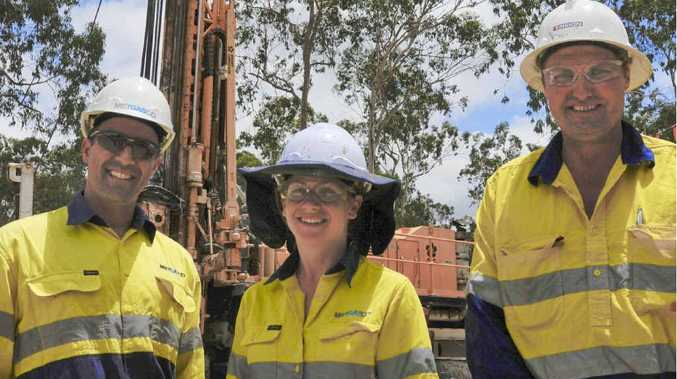 TEST SITE: Metgasco spokesman Richard Shields, senior geologist Anita Doigh and drilling supervisor Craig Nairn.