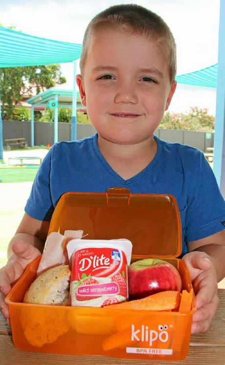 Billy Worth, from the Goodstart Early Learning Centre on Percy St, with a lunchbox packed full of healthy items.